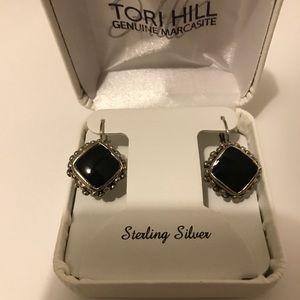 Black on  genuine Sterling. silver / pierced clip